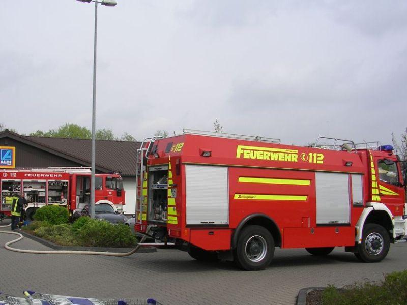 Brand eines Supermarktes