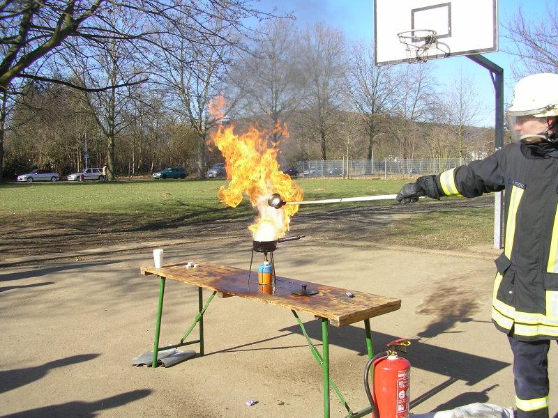 Demonstration eines Fettbrand