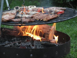 Grillfeuer in der Sommerzeit