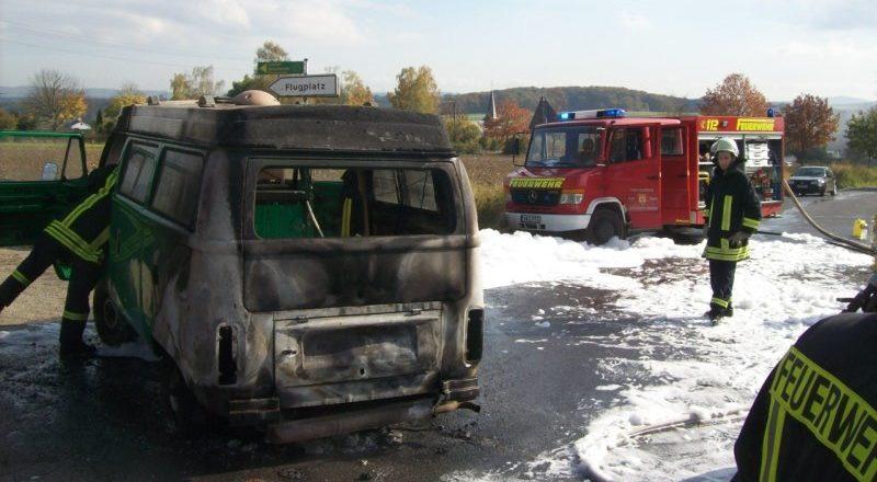 Ausgebrannter VW-Bus