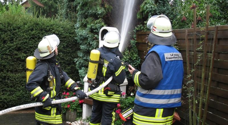 Die Feuerwehr löschte die letzten Flammen